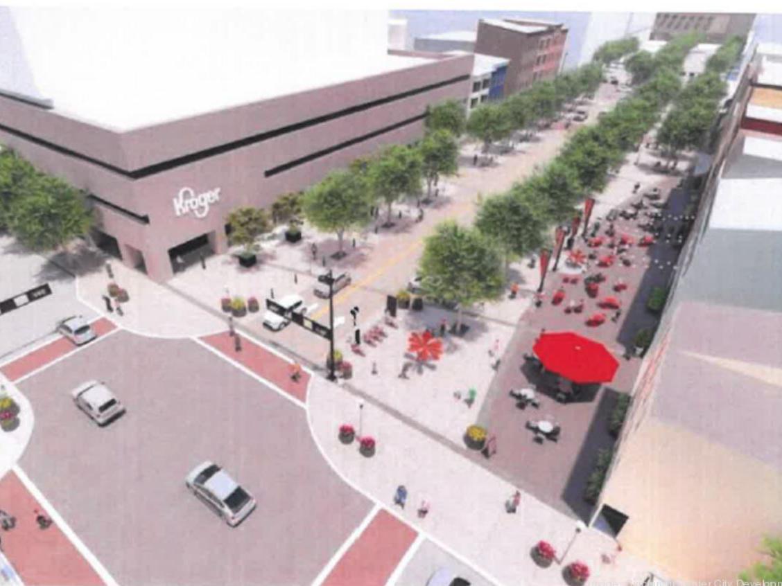 Aerial rendering of court street development