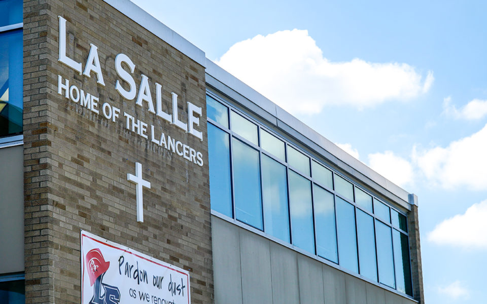 updated exterior with name of school at LaSalle High School