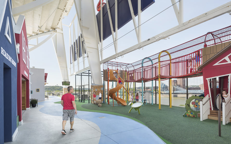Kids playing on the TriHealth family pavilion at the Great American Ball Park