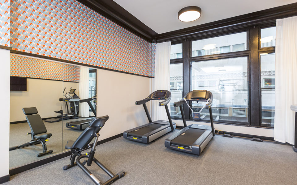 fitness room at The Kinley