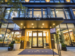 Exterior of entry to The Kinley hotel