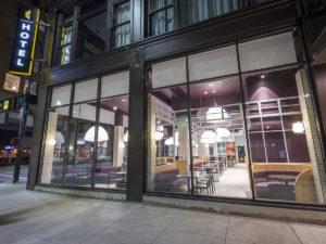 Exterior image of Khora restaurant in the evening