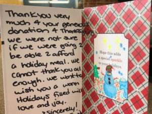 Thank you card from food drive recipient