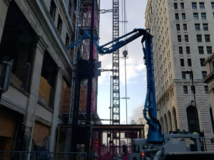 concrete pumped into third floor of Ingalls Building
