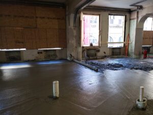 concrete pour inside Ingalls Building