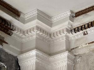 detail of plaster repairs in Ingalls Building