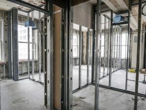 steel framing of a guest floor room