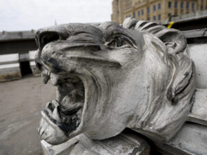 ornate lion's head from Ingalls building