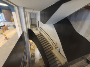 in-progress grand staircase in Ingalls Building