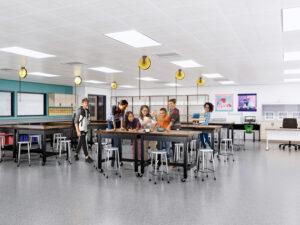 Rendering of upcoming renovation to Seven Hills School Middle School, classroom