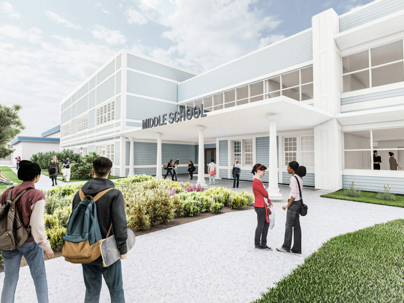 Rendering of upcoming renovation to Seven Hills School Middle School, entry