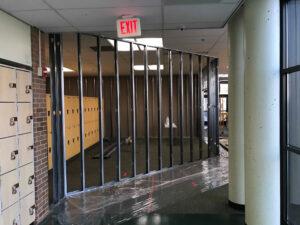 framing for temporary walls as HGC begins renovations at sycamore and symmes