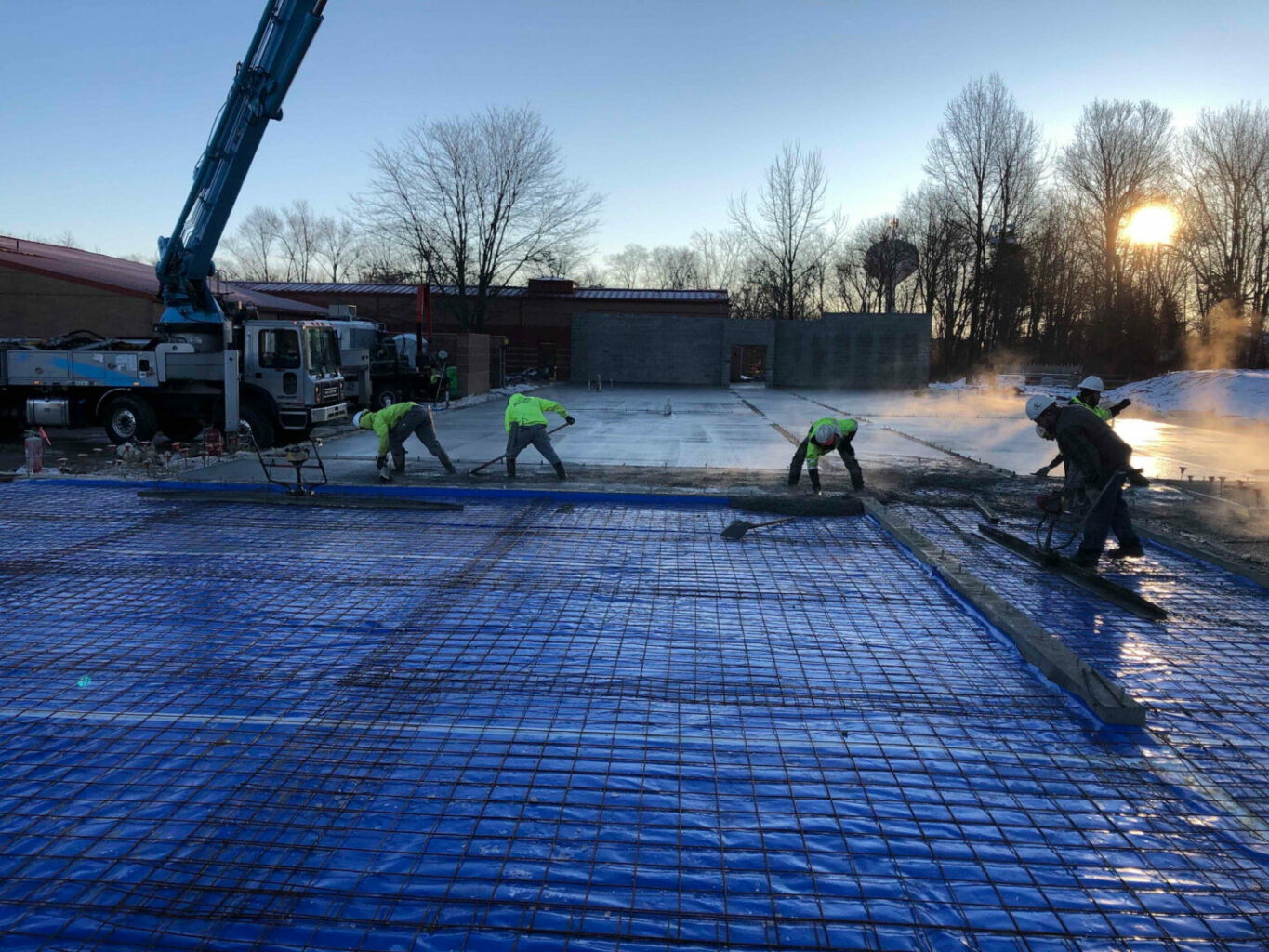 early morning concrete pour at Symmes Elementary