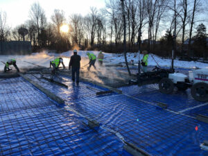 early morning concrete pour at Symmes elementary renovation