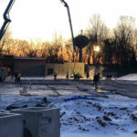 early morning concrete pour as team begins sycamore symmes renovations