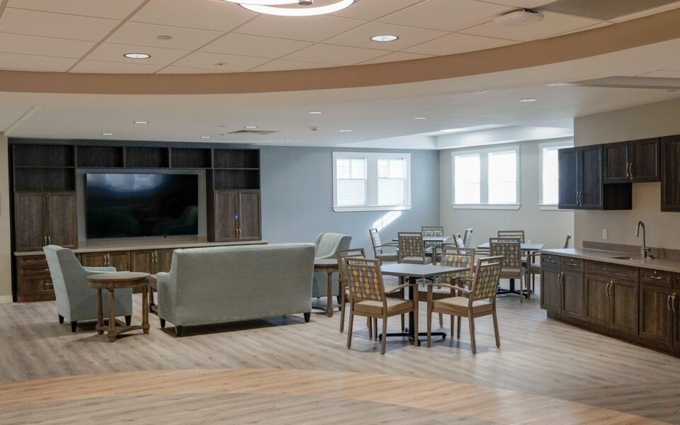 interior of common gather areas in the Twin Lakes Memory Services wing
