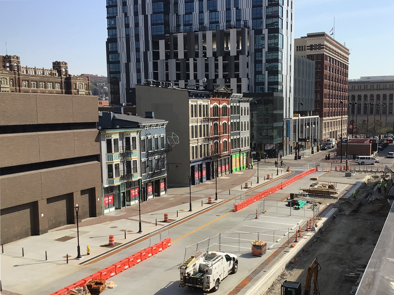 aerial of Court Street plaza project which closes in two months