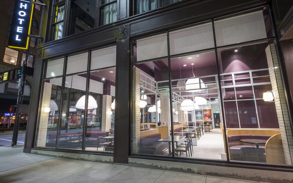 exterior of Khora Restaurant in downtown Cincinnati a night