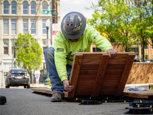 Self-perform personnel installing parklets