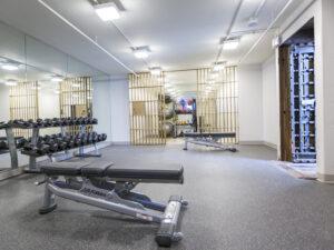 hotel fitness center in former historic bank vault