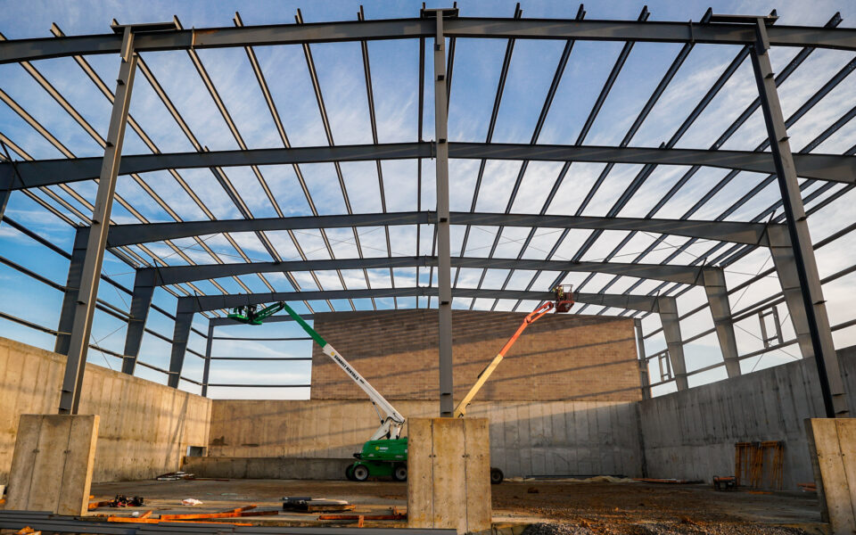 steel frame of new Rumpke facility