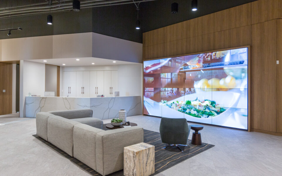 interior of Tisdel Distributing showroom, high-end display kitchen
