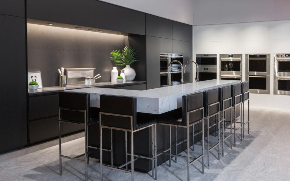 interior of Tisdel showroom, high-end display kitchen