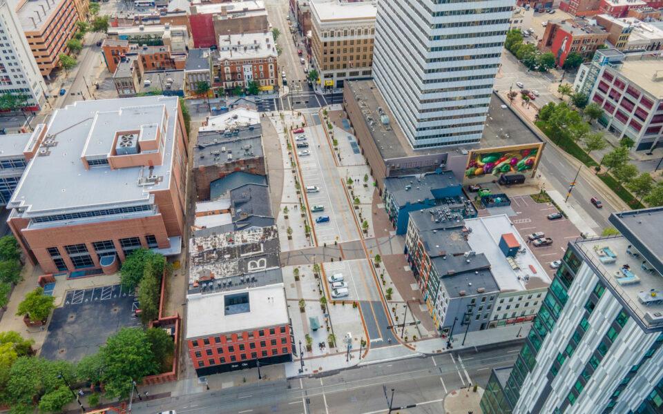 aerial view of court street pedestrian plaza