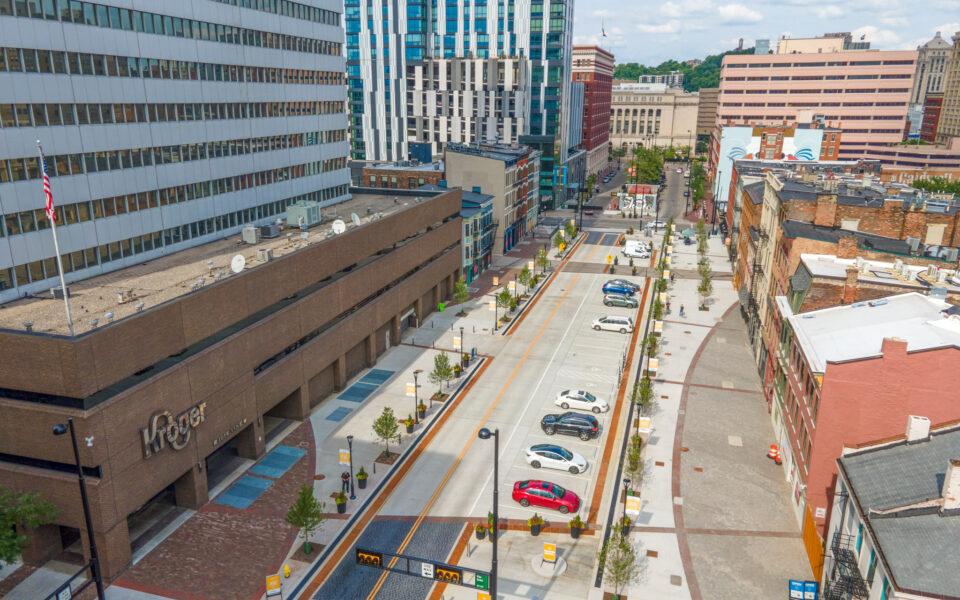 view of widened sidewalks on Court Street