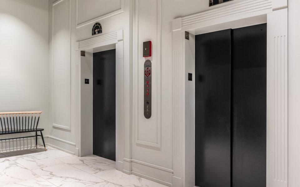 Elevator lobby at The Grady Hotel