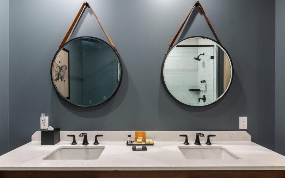 interior of guest room bathroom at Grady Hotel