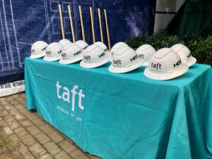 hard hats at groundbreaking ceremony