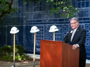 Ohio State Senator Steve Wilson speaks atTaft Museum of Art groundbreaking