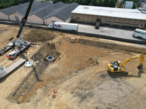 aerial view of installation of storm water retention